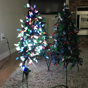 2 Completed mini trees, one with all 4 channels (colours) on.